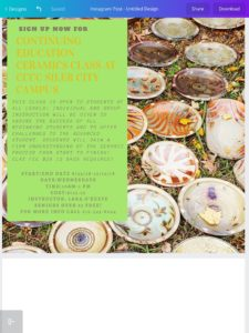 Flyer with ceramic bowls in background