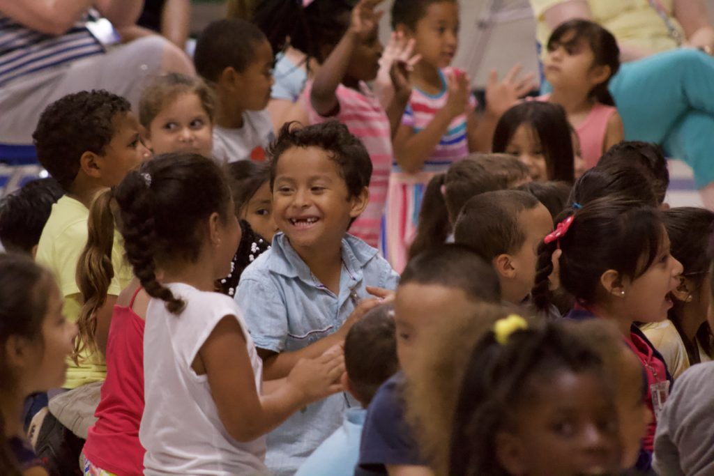 Children at an Artists-in-Schools performance in Chatham County.
